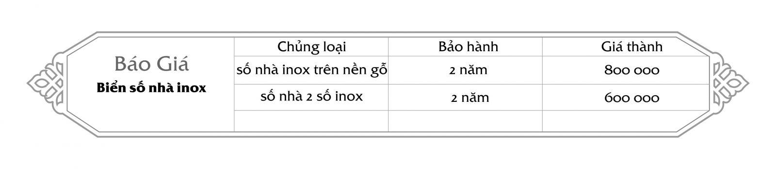 Biển số nhà inox